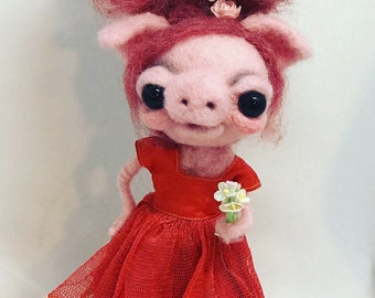 Patty the red headed PIg  Original one of a kind art doll