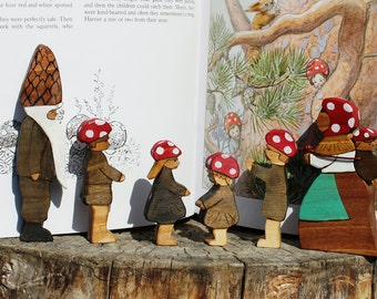 Customizable Children of the Forest Wood Toy Set - Natural Eco Friendly Elsa Beskow Forest Family Waldorf Wooden Toy