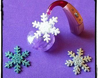Hörgeräte Rohr Schmuckstücke: Glitzernde Schneeflocken!  Bitte wählen Sie die Menge 2 für ein paar!  3 Farben erhältlich!