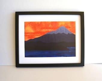 Mountain print, sunset scene, fabric landscape, Mt Taranaki, fabric fibre art, twilight,
