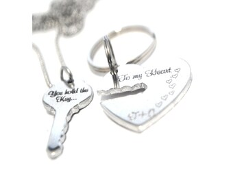 You Hold the key...To my Heart Keychain Set - Couple Key Chain Gift - Anniversary Gift - His and Hers - Heart Keychain - key cutout heart