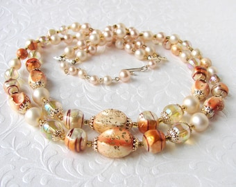 Vintage Beaded Necklace 2 Strand Gold Amber Faux Pearl Chili Oil Brown Swirl Beads JAPAN 50s Costume Jewelry Wedding Cocktail Theater Stage