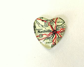 NEW Vintage Map Magnet - Heart Shape - Nashville TN - perfect for housewarming, anniversary, wedding or guy gift