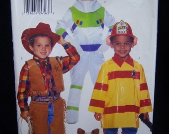 Cowboy, Spaceman, and Fireman Sewing Pattern for Children sizes 2, 3, 4, 5, 6, 6x. Butterick 4654