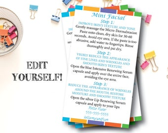 Rodan and Fields Mini Facial Card / Editable / Edit Yourself / INSTANT DOWNLOAD / Mini Facial Cards / Digital File