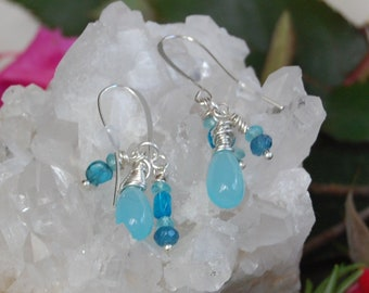 African Aqua Chalcedony Teardrops, Kyanite, Neon Apatite, and Aquamarine Dangle Earrings in Sterling Silver