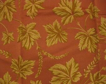 Highland Court Spring Leaf Vine Tapestry Designer Fabric Sample Salmon Gold