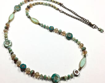 Mint Green Beaded Necklace, Spring Beaded Jewelry, Asymmetrical Glass Necklace