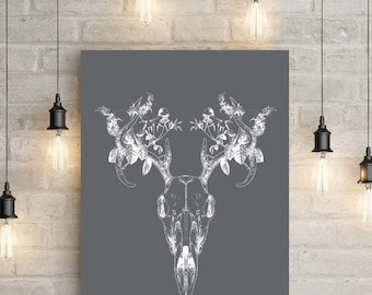 Deer Stag Head Skull Grey and White A3 Poster / Wall Art / Home Decoration