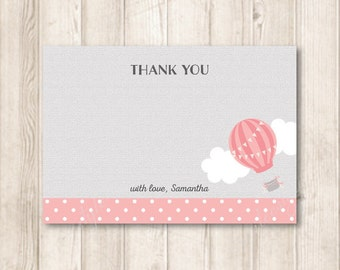 Pastel Pink Hot Air Balloon Thank You Note Cards, Up Up and Away, Adventure, Travel, Thank You Flat Cards, Modern DIY Printable