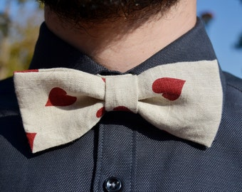 LAST ONE - Red heart linen fabric bowtie - Adjustable - Unisex