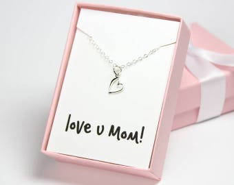 Love you mom necklace heart necklace sterling silver mothers day gift necklace gift for mom valentines day gift for mom gift for mother pink