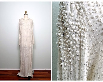 Vintage Pearl Beaded Wedding Dress / Ivory Silk Glass Beaded Gown / Heavily Embellished Iridescent Wedding Gown