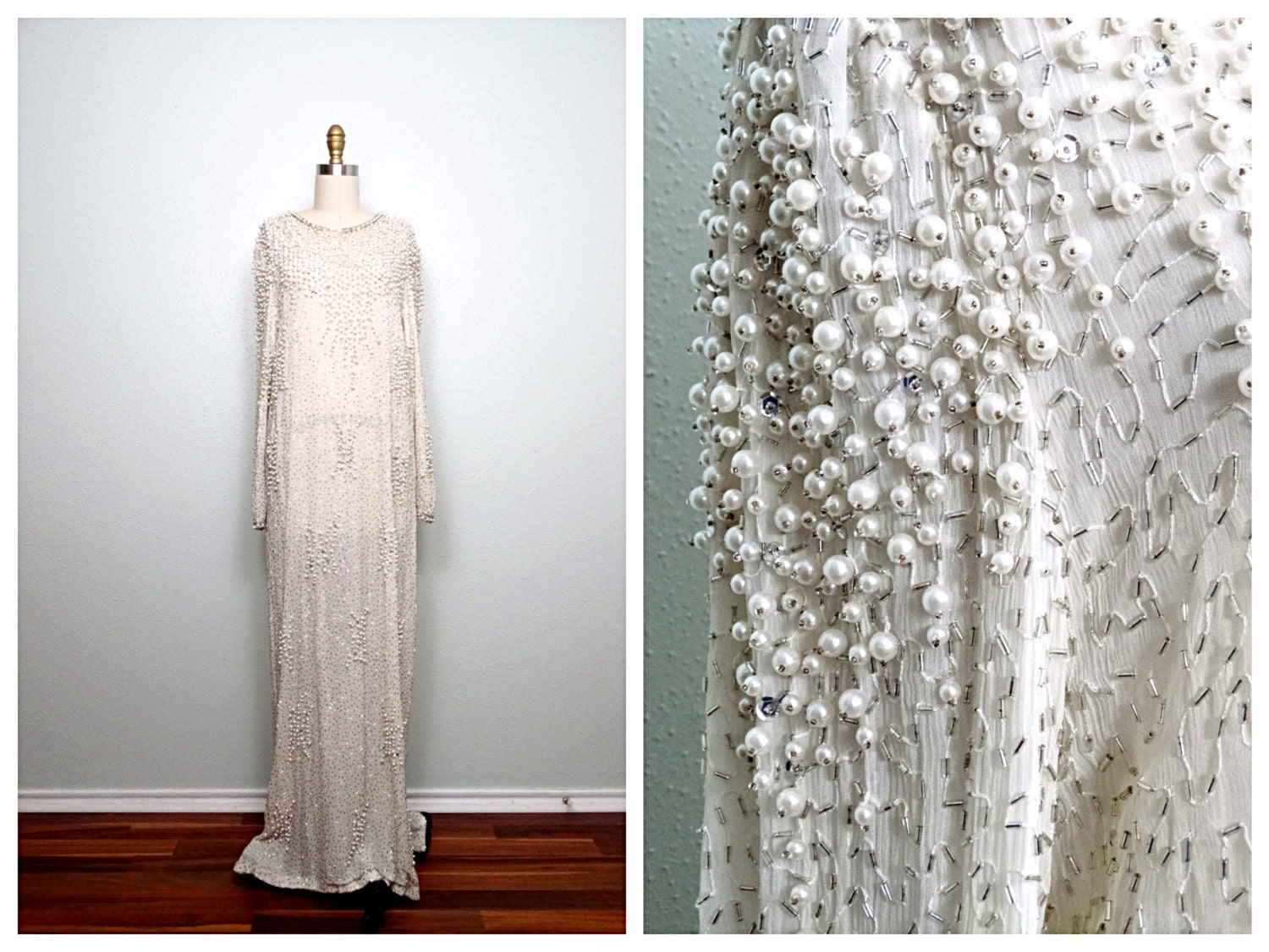 Vintage pearl beaded wedding dress ivory silk glass beaded for Ivory beaded wedding dress
