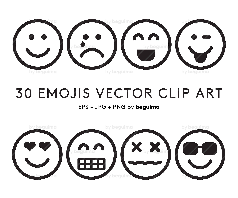 Emoji Clip Art, Emoticon Clipart, Set Of Icons, Outline