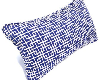 Free shipping/BLUE PILLOW Cover LUMBAR 13x22inches-Decorative print fabric-Blue/White -self piping -Throw pillow-Accent pillow-Sofa pillow