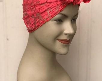 Lace Hair Scarf - Coral