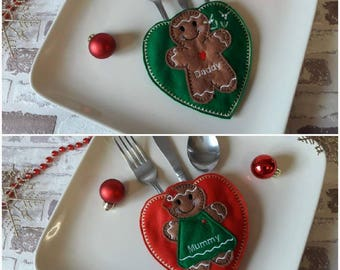 Gingerbread Christmas cutlery holders. Christmas place setting table decoration