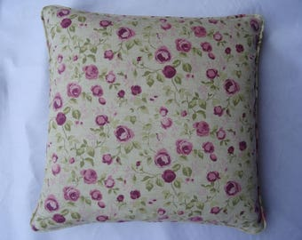 Roses floral cushion cover, deep rose colour.
