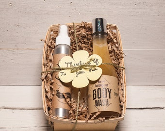 spa gift box, gift for her, spa set box, natural body wash, spa gift set, natural body spray, natural skincare, all occasion gift