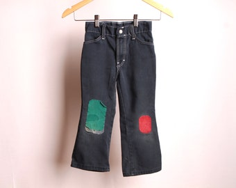vintage DENIM blue faded JEANS mid-century patched up pants for kids size 3T