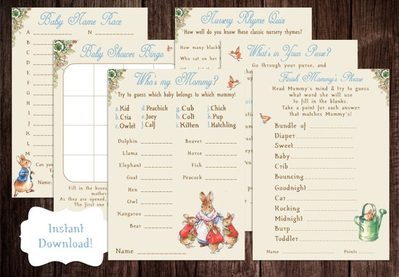 Printable Peter Rabbit Baby Shower Game Package, Beatrix Potter, Peter  Rabbit, DIY Baby Shower Game, Story Book