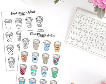 Takeaway Coffee Planner Stickers | Illustrated Stickers | Coffee Stickers | Coffee Addict Stickers | Coffee Lovers (S-283)