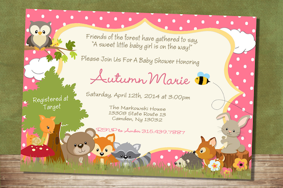 Baby Girl Forest Themed Baby Shower Invitation Woodland Baby