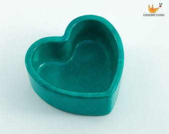 SALE Turquoise Heart Shaped Trinket Box / Jewellery Holder / Unique Gift