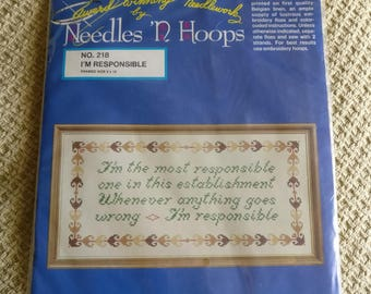 """Cross Stitch Sampler """"I'm the most responsible..."""" (Needles 'N Hoops No. 218)"""