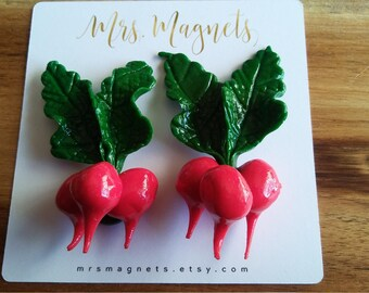 Radish Magnets Set of 2 - kitchen refrigerator magnets, office magnets, teacher gift, hostess gift