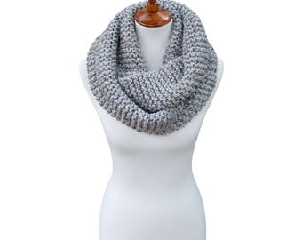 Knit Infinity Scarf, Chunky Knit Scarf, Cowl, Snood, Circle Scarf, The Winnipeg Scarf - Gray Tweed