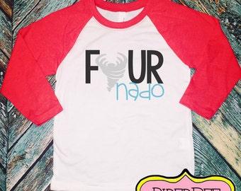 Four Year Old Birthday Shirt, Raglan Shirt, FourNado, Fourth Birthday Boy Shirt, 4 Year Birthday Shirt, 4th Birthday Shirt, Birthday Outfit