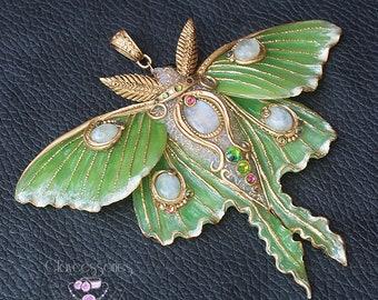 Luna moth necklace Butterfly necklace Art Nouveau necklace Statement necklace Moth jewellery  Moonstone necklace Polymer clay jewellery