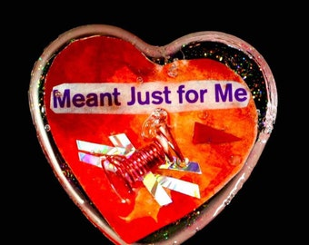 """Heart Shaped Epoxy Resin Brooch - """"Meant Just For Me"""""""