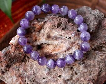 Amethyst bracelet.  10mm  beads. Spiritual jewelry. Yoga bracelet. Awakening bracelet.