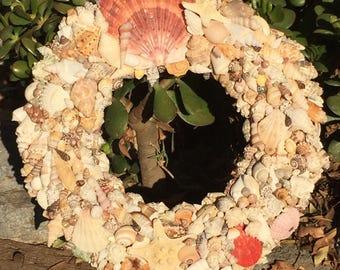 Seashell Wreath/Beach Decor/Home Decor/Sea Shell Art/Wall Art/Nautical/Sea Shell Gift