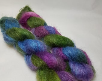 Hand dyed Kid Mohair Silk yarn, Lace weight, 50g, JAGER SLUSHIE