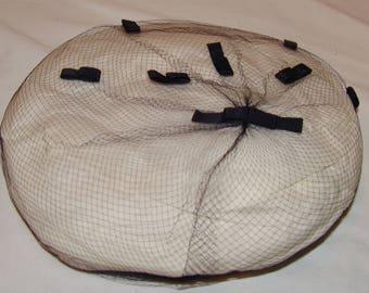 Vtg Navy Blue Womens Veil Hat Mesh Net Headcover Bows Ribbons Netting