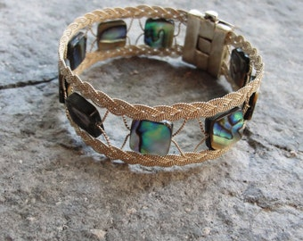 Sterling Silver Bracelet Abalone Shell Woven Sterling Silver jewelry