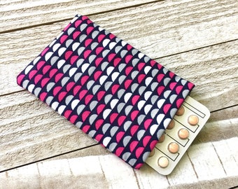 Pill Case Birth Control Sleeve - Half Moons - pink