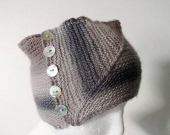 Hand Knit Headband/Neckwarmer Dove Gray Gradient Stripe Headwrap with Mother-of-Pearl Buttons. Lightweight Geometric Gray Unisex Headband