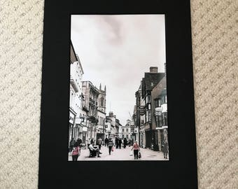 Stamford High street 12x8 print in a A4 mounted frame
