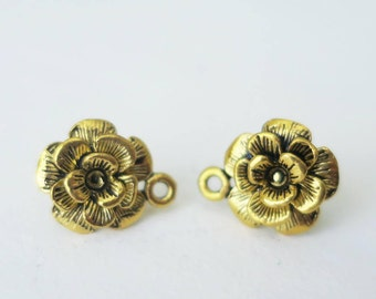 1 Pair Antique Gold Flower Earring Post with One Loop 11mm Golden Ear Stud Vintage Jewelry Findings