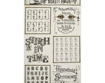 Letter Stitch Fabric Panel, Typography - Text & Letter Fabric by Janet Wecker Frisch for QT Fabric-  24054 E Cream - Panel 24 Inch