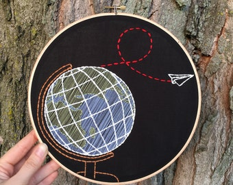 "Desk globe embroidery art - hand stitched 9"" hoop - planet Earth, paper airplane"