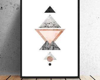 Poster, triangles, college, structures, Grafsich design, black, pink, grey, wall decoration, wall art, triangles