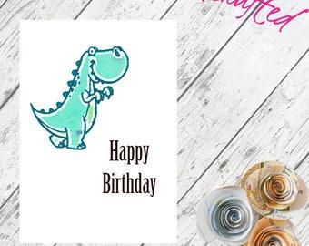 Happy Birthday // Dinosaur // Happy Birthday Dinosaur // Watercolour // Custom // Personalised