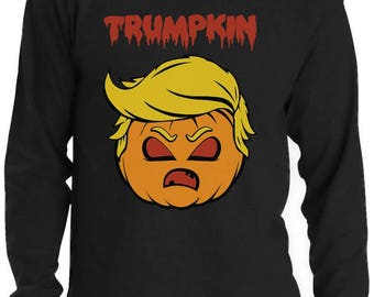 Trumpkin Donald Trump Jack O Lantern Scary Pumpkin Funny Halloween Long Sleeve T-Shirt