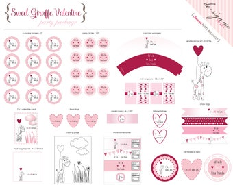 Sweet Giraffe Valentine Party Package